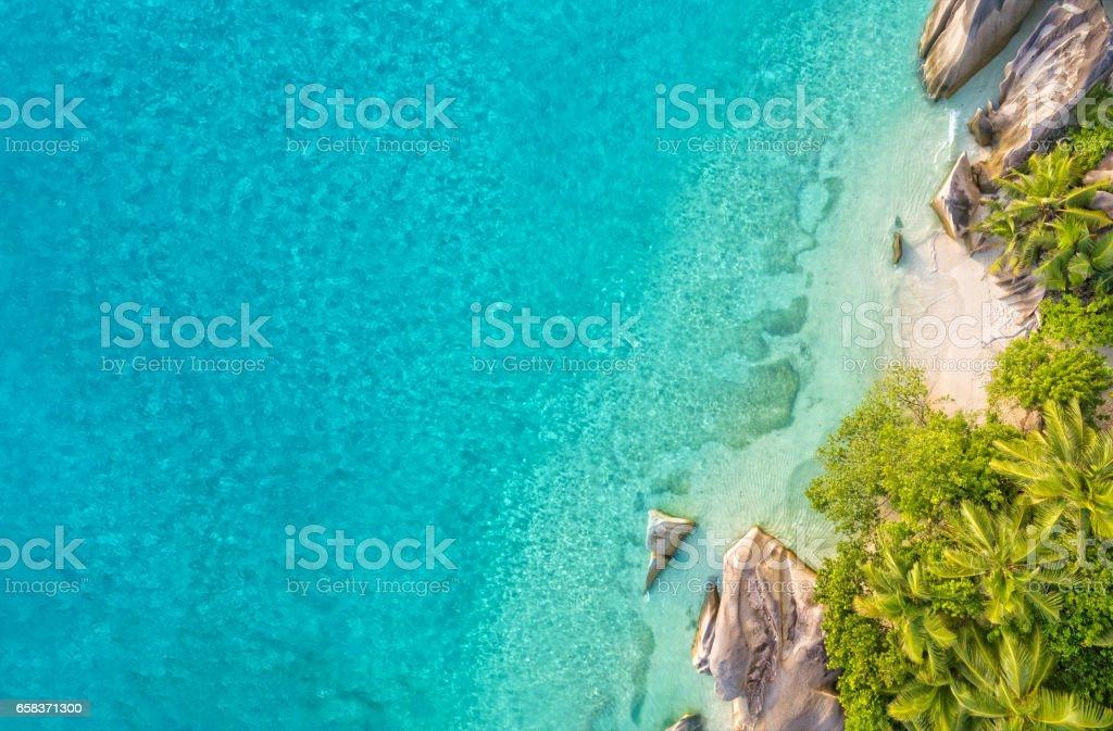 Aerial photo of tropical Seychelles beach at La Digue island stock photo