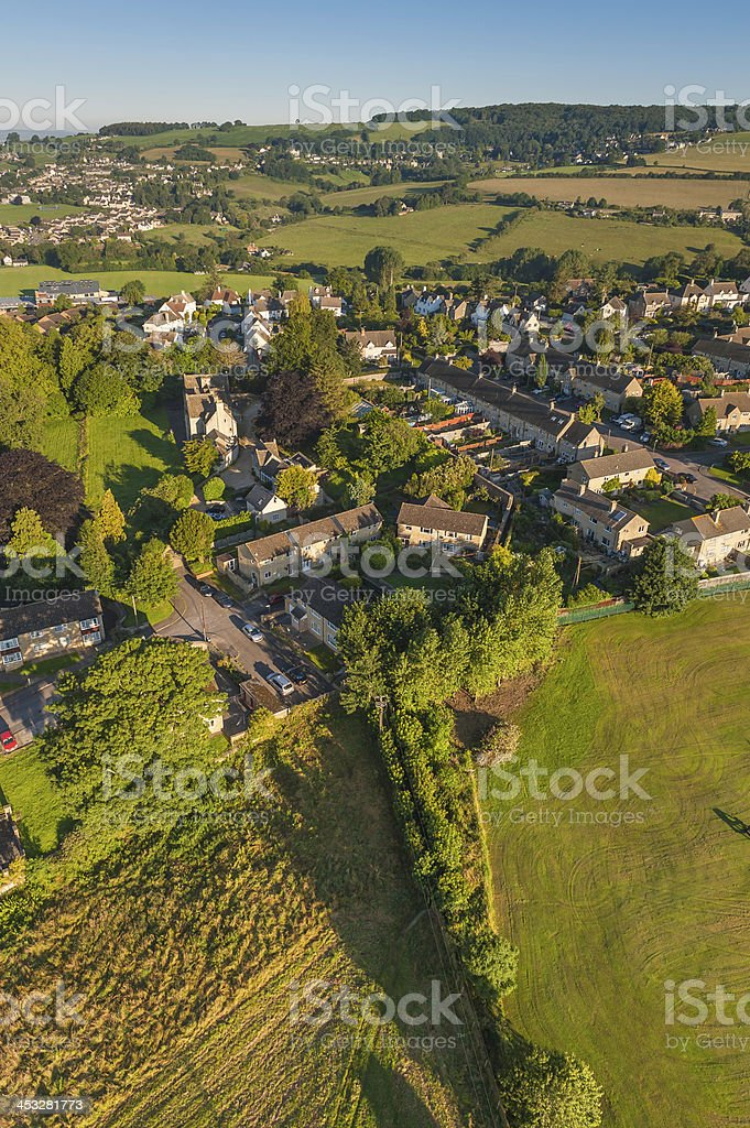 Aerial photo of village homes in tranquil summer countryside royalty-free stock photo