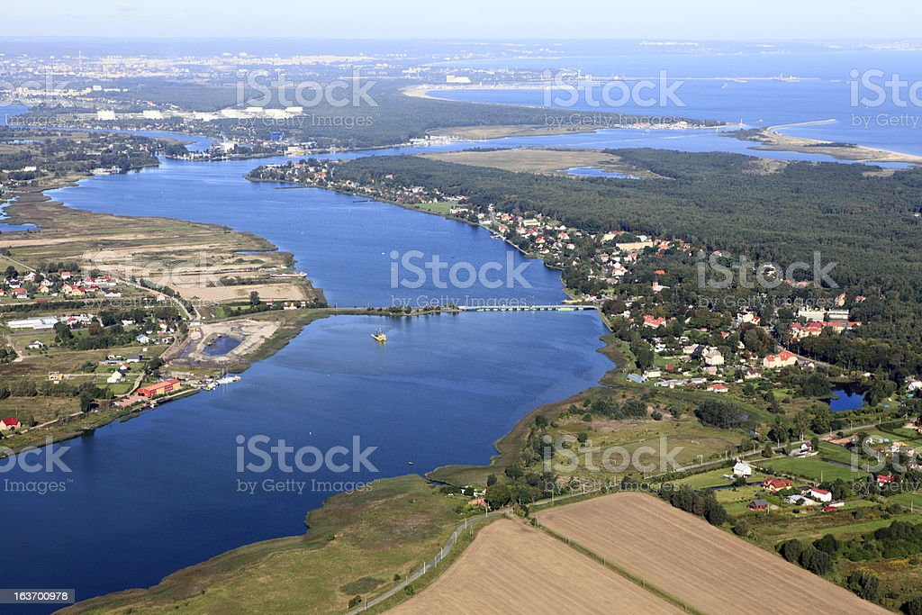 Aerial photo of Vistula river.Gda?sk royalty-free stock photo