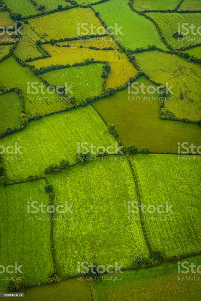 Aerial photo over green fields patchwork meadows farm pasture hedgerows stock photo