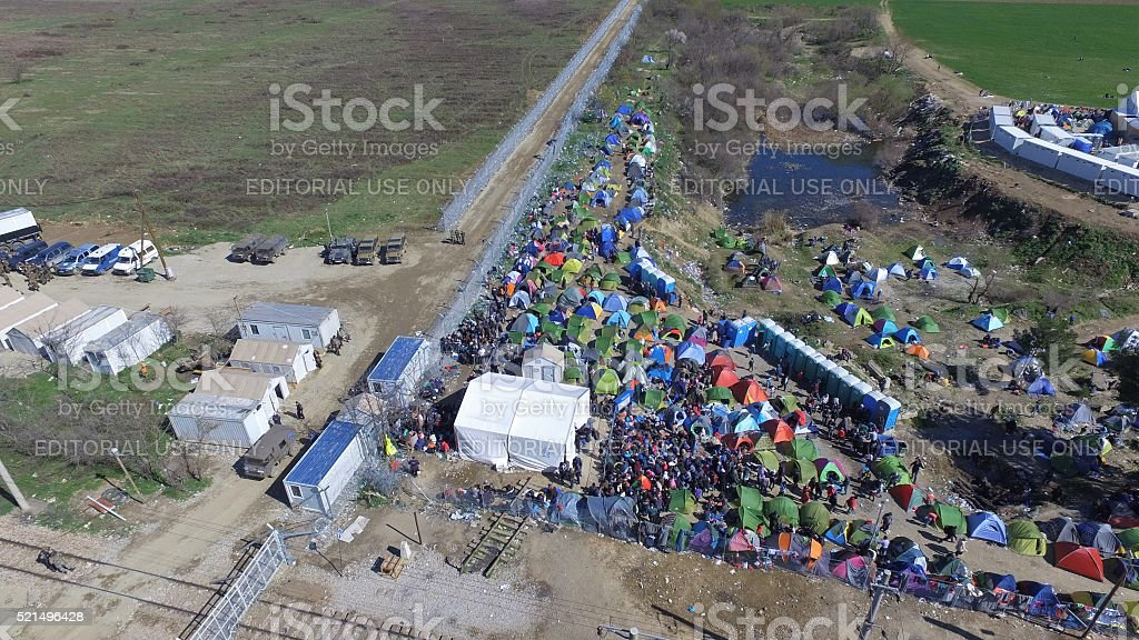 Aerial photo: refugees wait to enter Macedonia stock photo