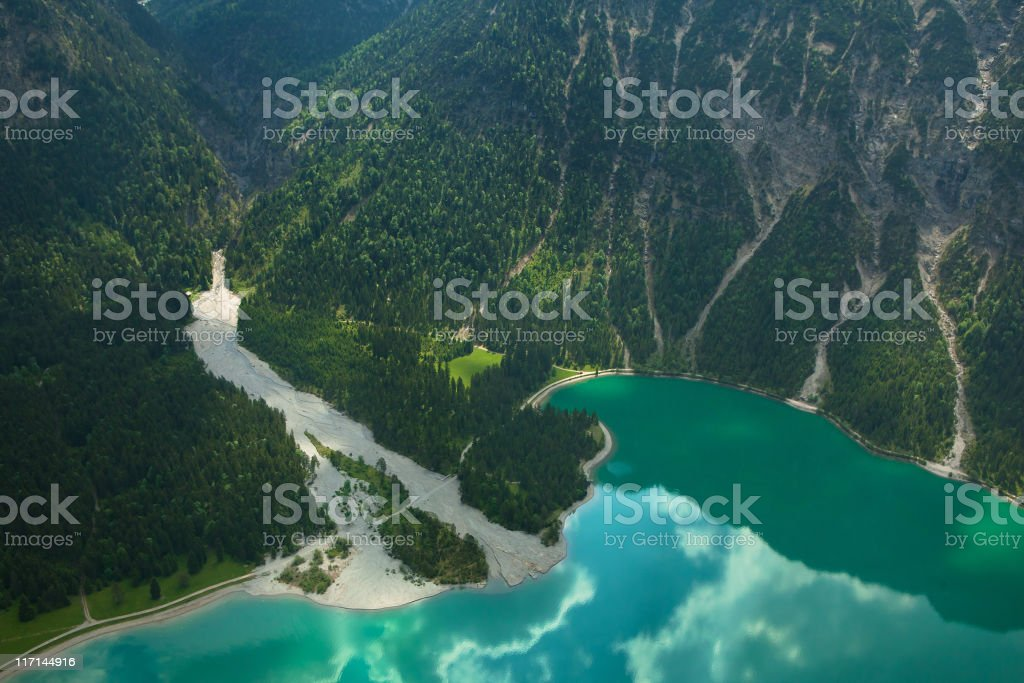 aerial photograph of lake heiterwanger see tirol, austria, alps royalty-free stock photo
