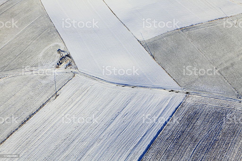 Aerial photograph of the farmland in winter royalty-free stock photo