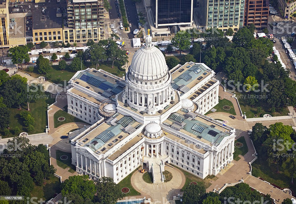 Aerial photograph of Wisconsin State Capitol stock photo