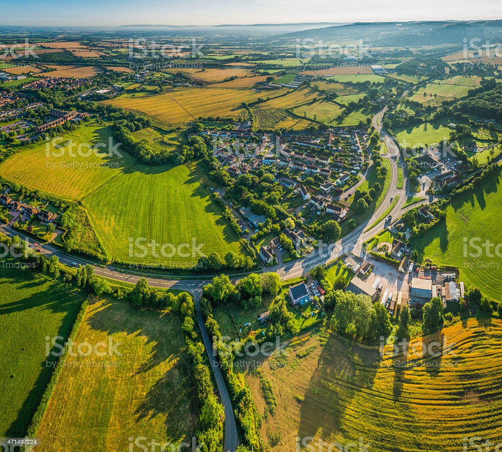 Aerial photograph over suburban villages country farms fields and pasture stock photo