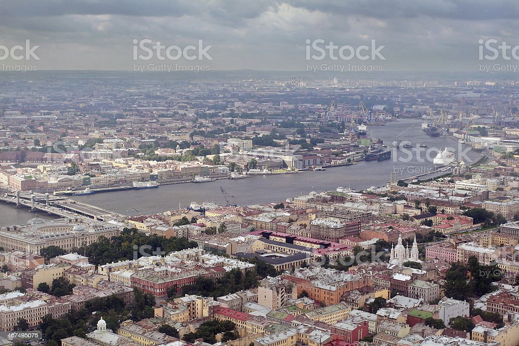 Aerial Photography a European city, divided navigable river. stock photo