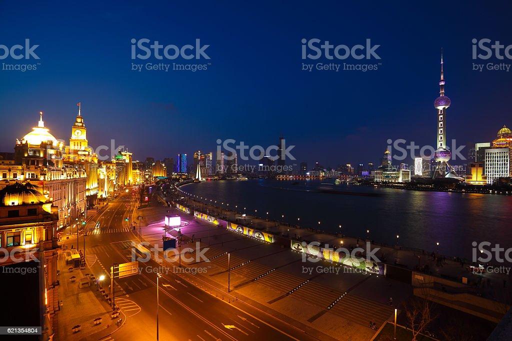 Aerial photography at Shanghai bund Skyline of night scene stock photo
