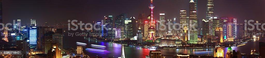 Aerial photography at Shanghai bund Skyline of panorama night scene stock photo