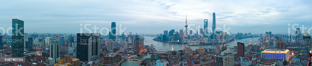 Aerial photography at Shanghai bund Skyline of panorama stock photo
