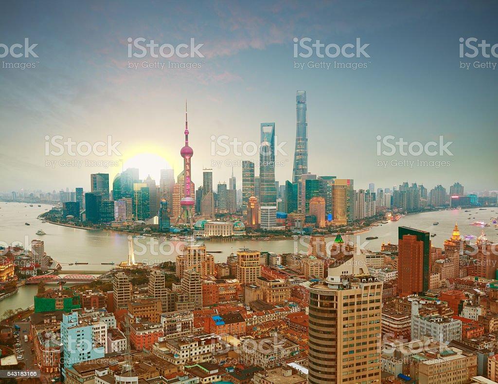 Aerial photography at Shanghai bund Skyline of sunrise stock photo