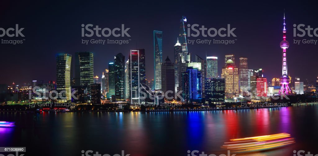 Aerial photography at Shanghai Skyline of panorama of night scene stock photo