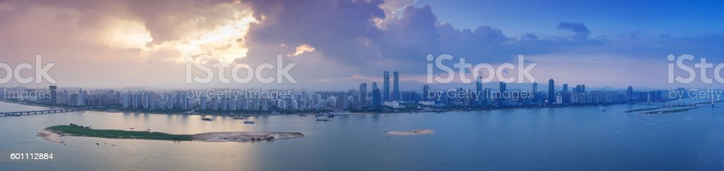 Aerial photography bird view at Shanghai bund Skyline of panoram stock photo