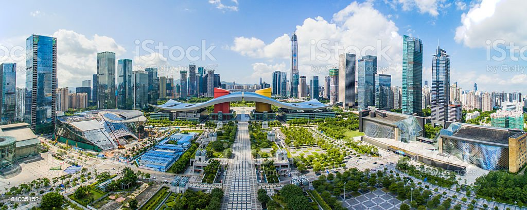 Aerial Photography China shenzhen Skyscraper stock photo