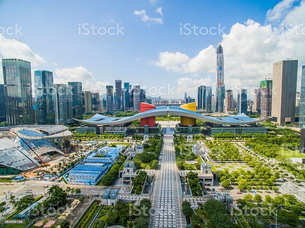 Aerial Photography China shenzhen Skyscraper stock photo
