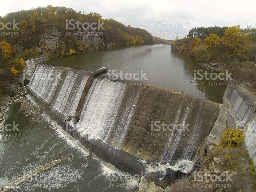 Aerial Photography dams on the river Teteriv. Ukraine stock photo