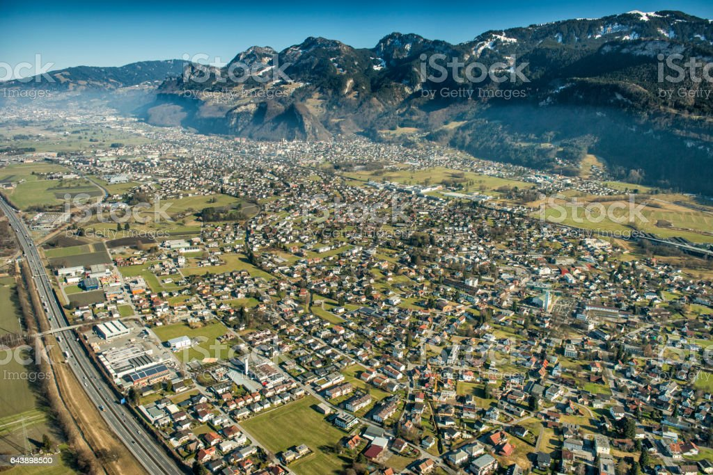 Aerial photography from the Rhine Valley in Austria stock photo