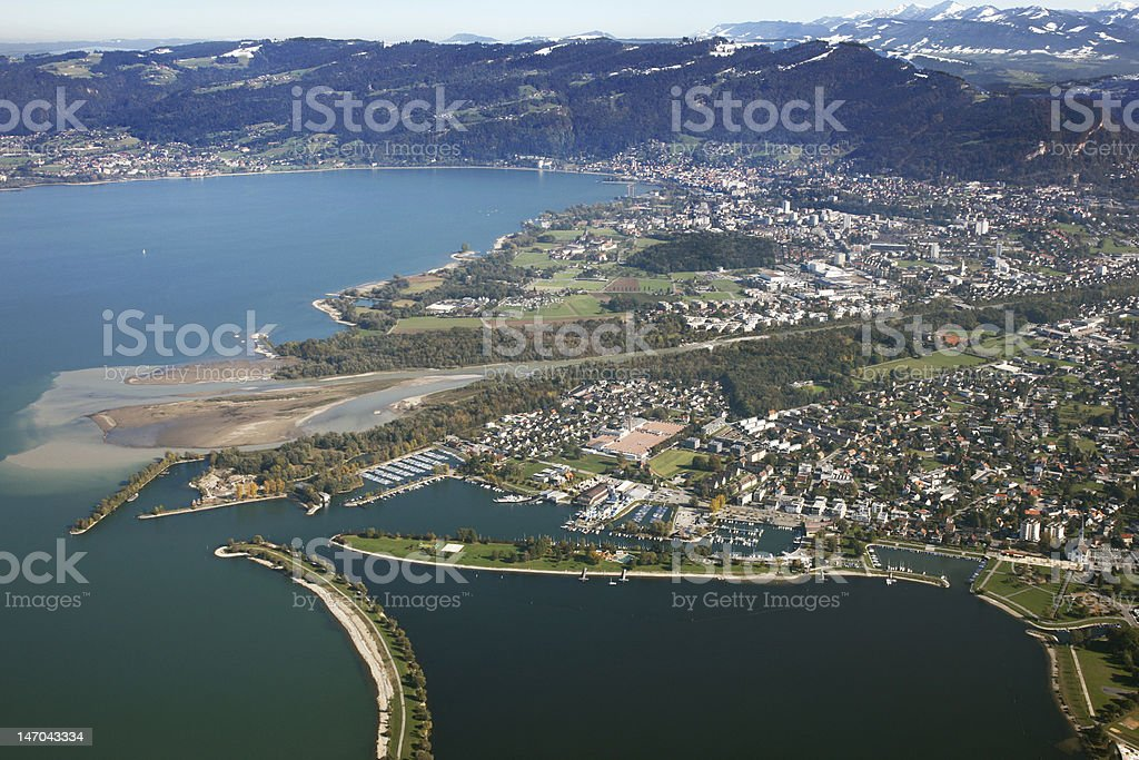 Aerial Photography Hard and Bregenz, Austria stock photo