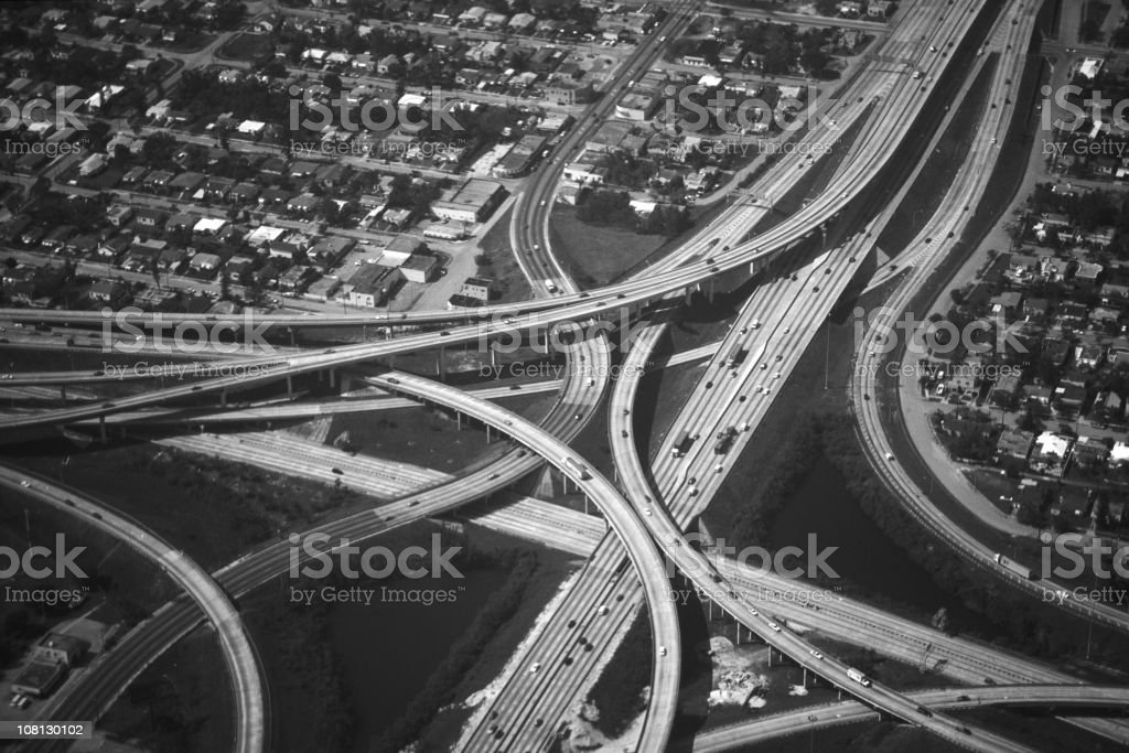 Aerial photography of a highway intersection royalty-free stock photo