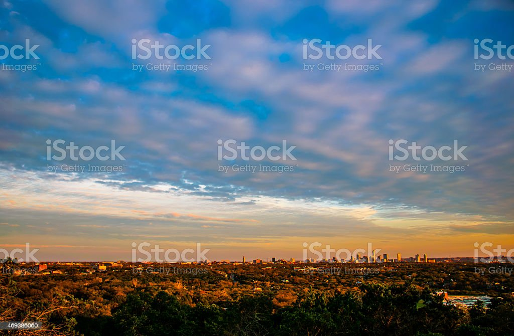 aerial photography of Austin Skyline Cityscape Mount Bonnell stock photo