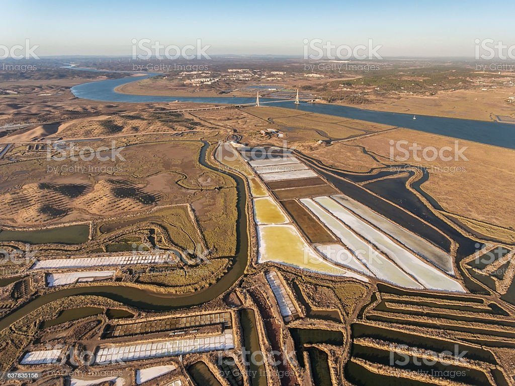Aerial photography of the river Guadiana and the bridge. stock photo