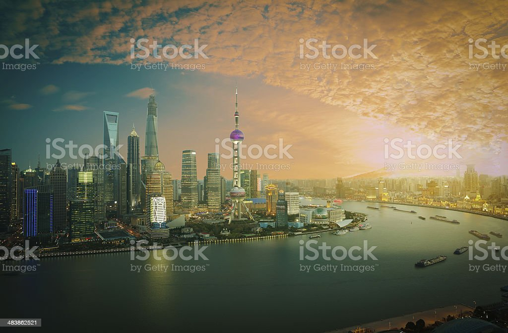 Aerial photography Shanghai skyline at sunset stock photo