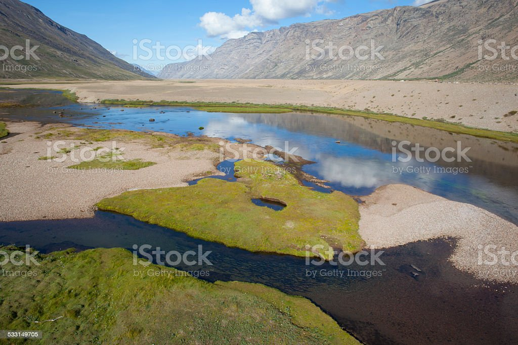 Aerial photos of arctic chars in river, Greenland stock photo