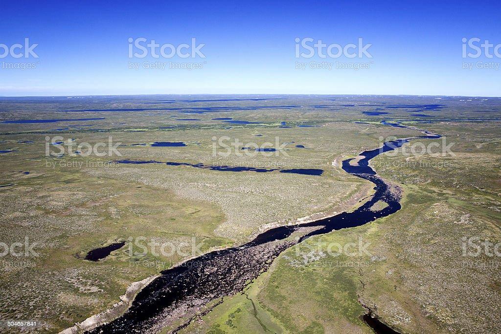 Aerial photos of arctic tundra wetlands stock photo
