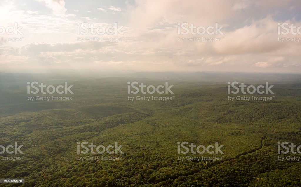 Aerial Photos. Panoramic landscape. The rays sun breaking clouds stock photo