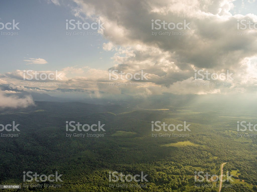 Aerial Photos. panoramic view of the forest and clouds. stock photo