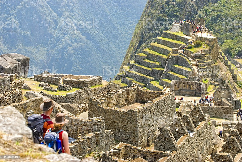 Aerial picture of the Machu Picchu ruins with tourists stock photo