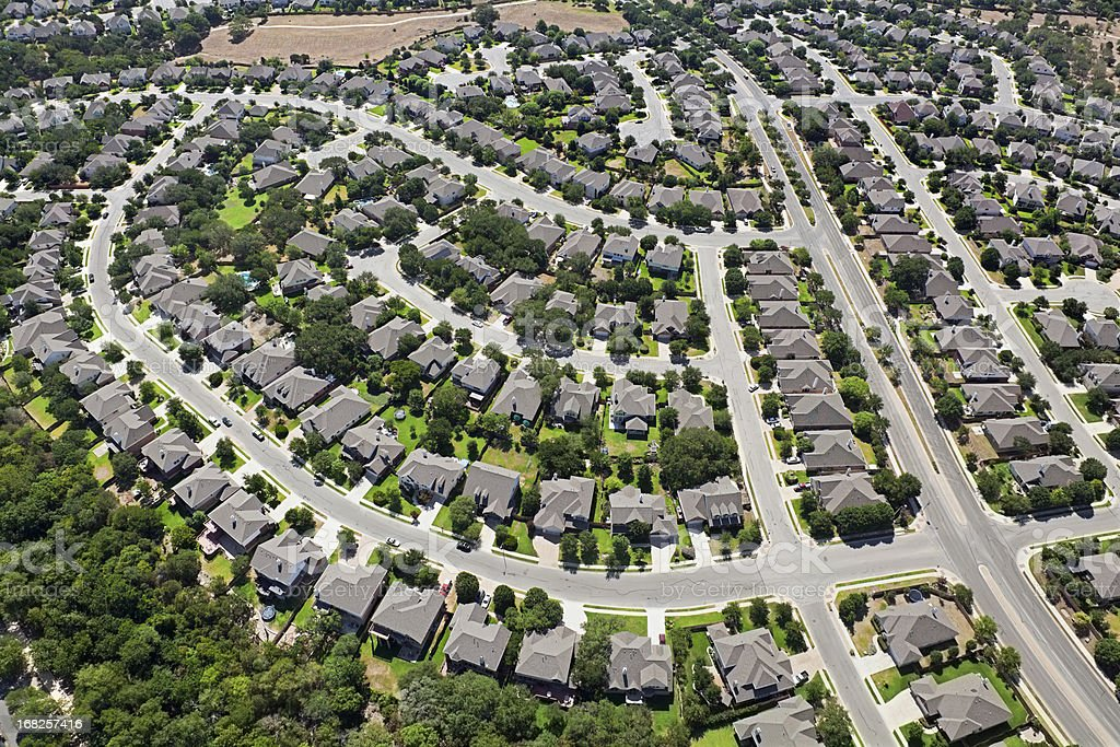 Aerial residential Austin Texas stock photo