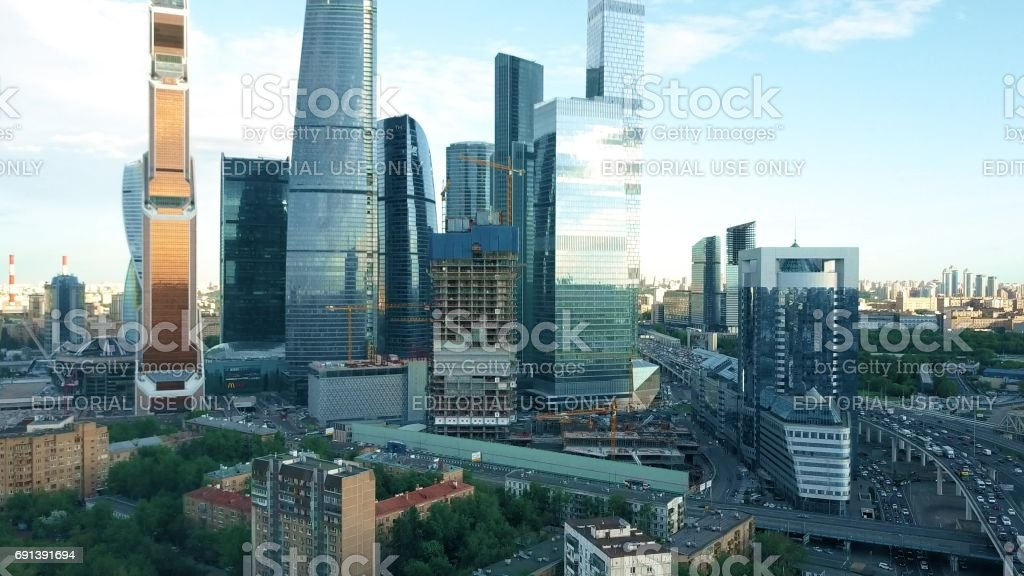 MOSCOW, RUSSIA - MAY, 22, 2017. Aerial rising shot of International Business Center, office, shopping and residential skyscraper complex stock photo