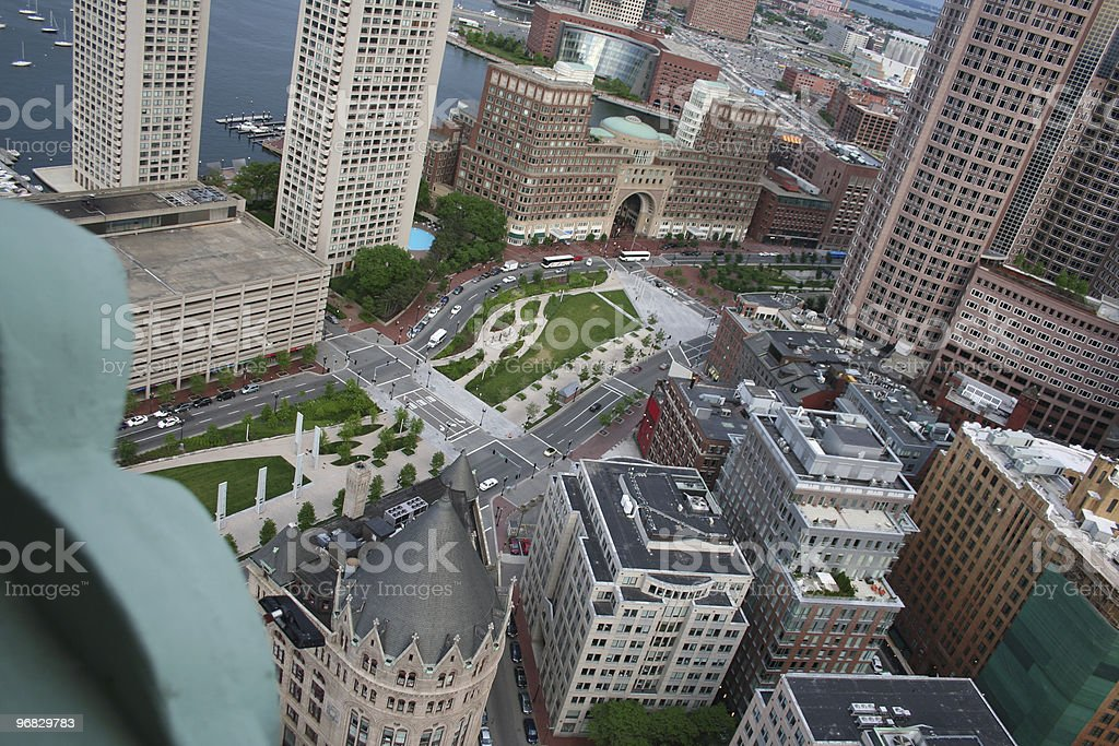 Aerial Rose Kennedy Greenway Financial District Boston Harbor Courthouse Seaport stock photo