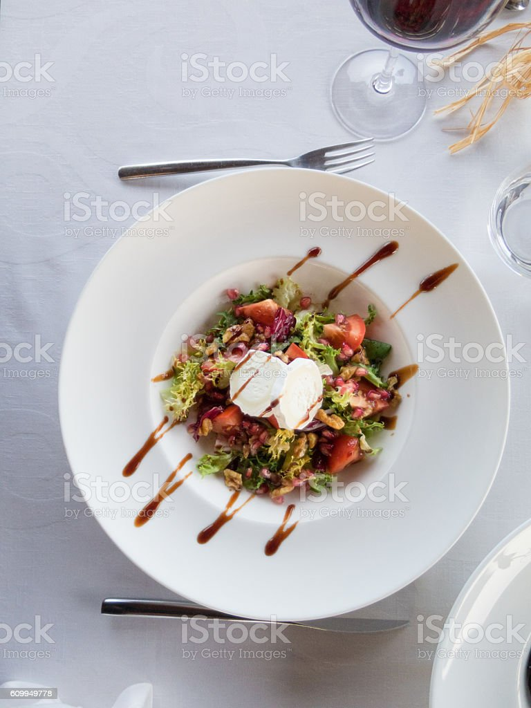 aerial salad in white bowl plate stock photo