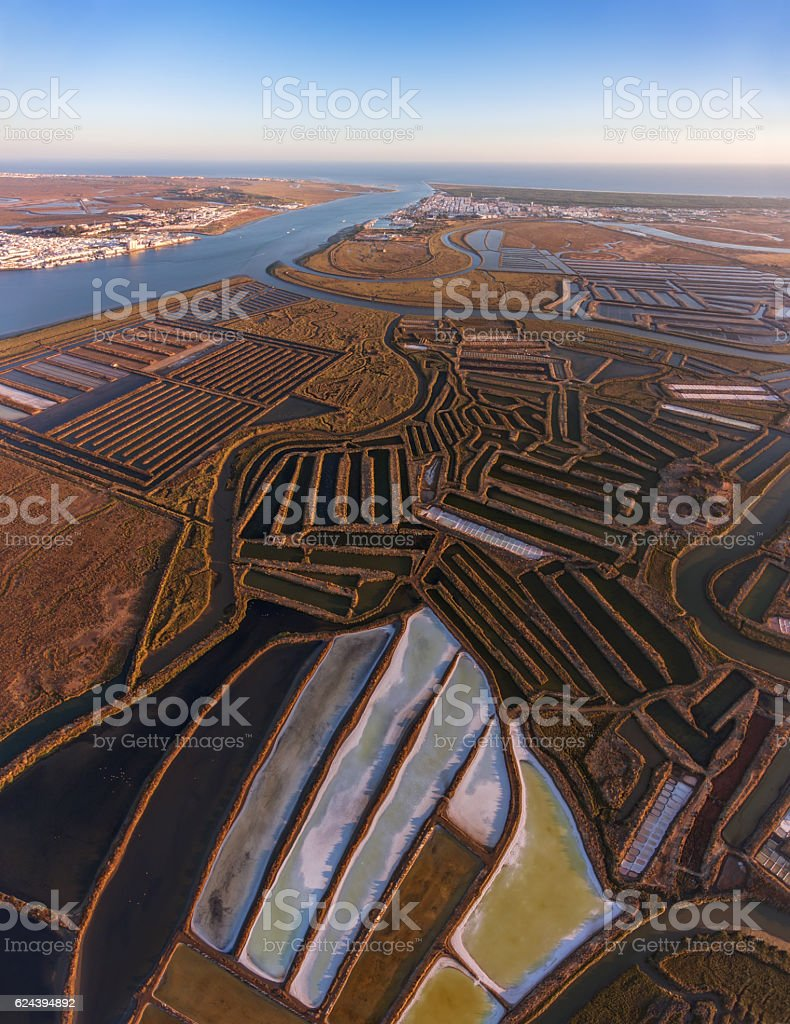 Aerial. Salt lakes and swamps filmed from the sky. stock photo