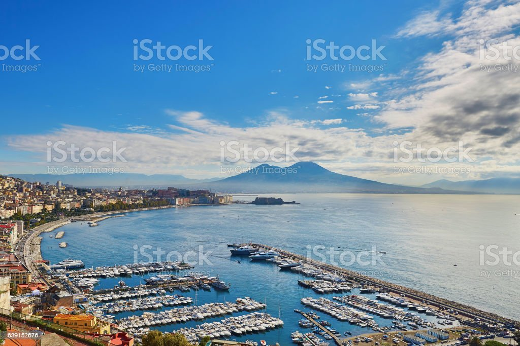 Aerial scenic view of Naples with Vesuvius volcano at sunrise stock photo