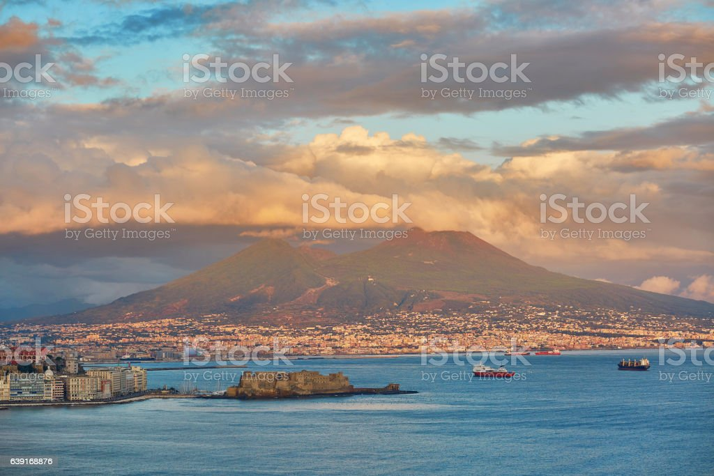Aerial scenic view of Naples with Vesuvius volcano stock photo