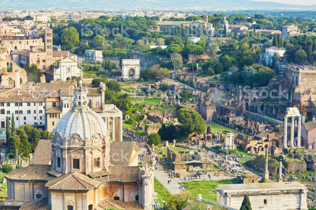 Aerial scenic view of Rome, Lazio, Italy stock photo