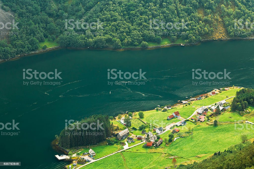 Aerial Scenic View Of Scandinavian Village On  Shore Narrowest Fjord stock photo