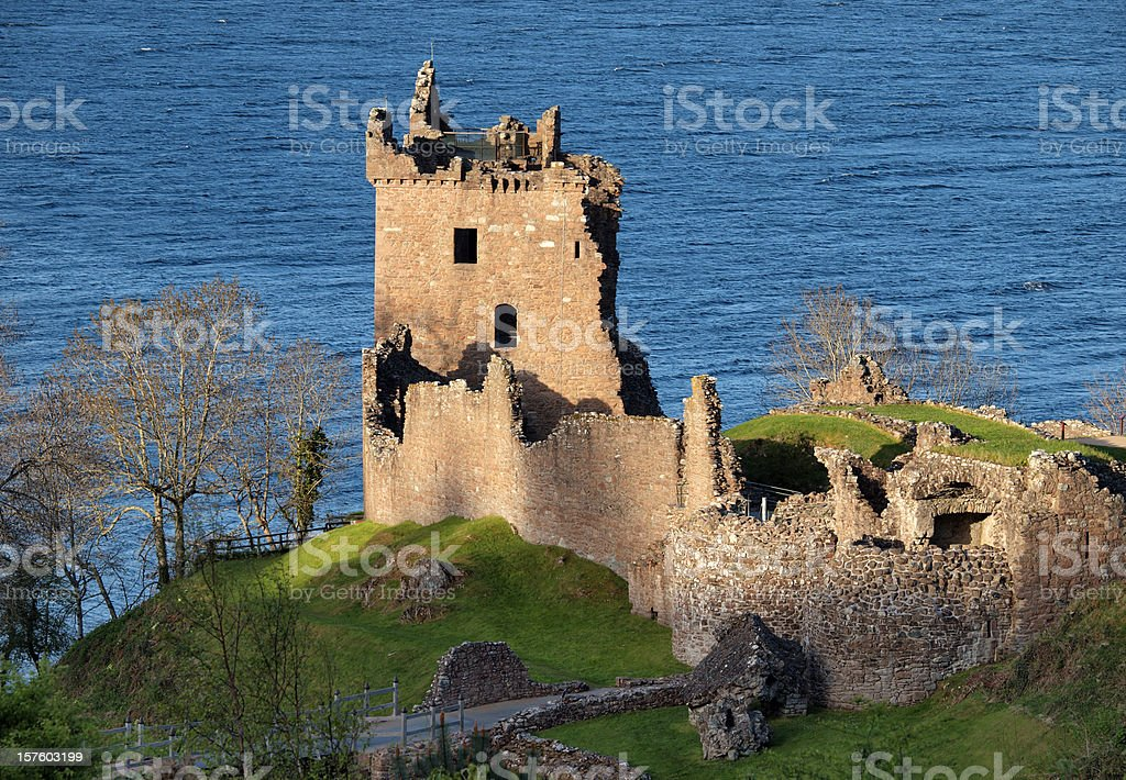 Aerial scenic view of Urquhart Castle in Loch Ness Scotland stock photo