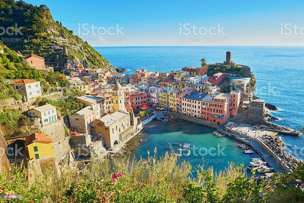 Aerial scenic view of Vernazza, Cinque Terre, Italy stock photo