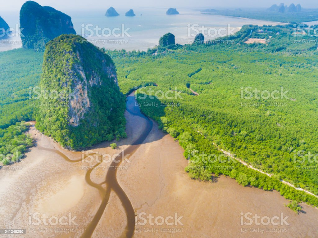 Aerial Sea View of pakmeng beach  in the Andaman Sea, Thailand stock photo