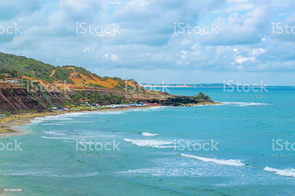 Aerial Seascape Scene Pipa Brazil stock photo