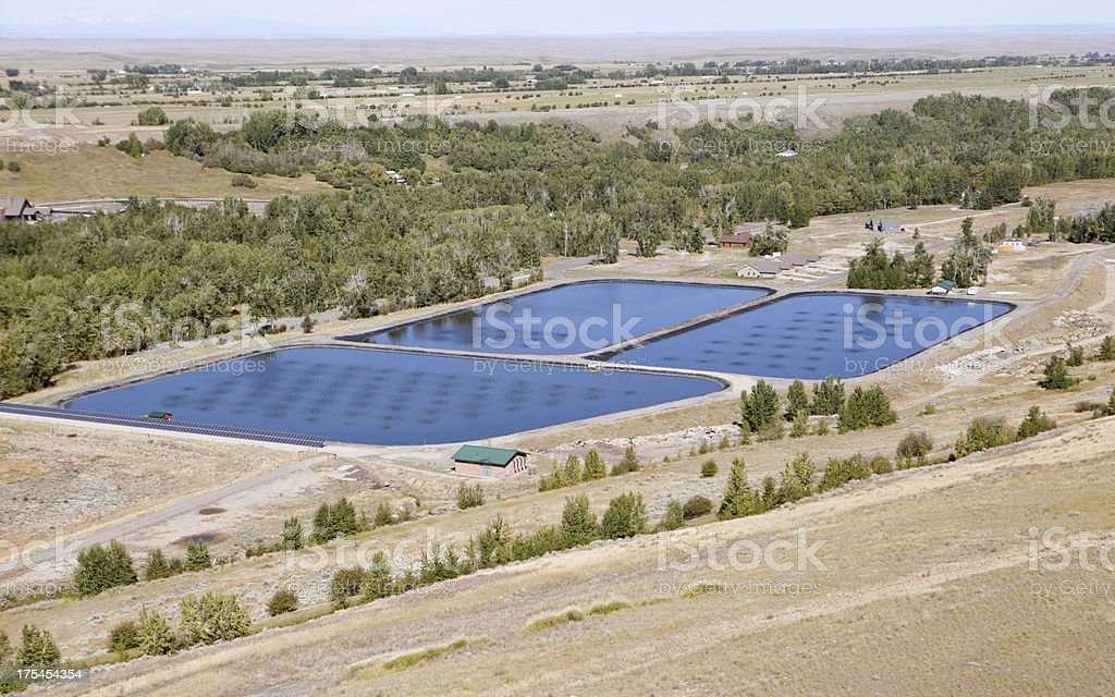 Aerial Sewage Treatment Plant Ponds with Solar Power stock photo