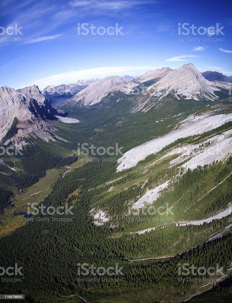 Aerial shot - Canadian Rockies stock photo