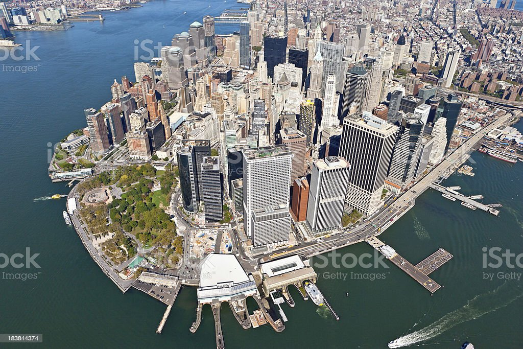 aerial shot downtown manhattan royalty-free stock photo