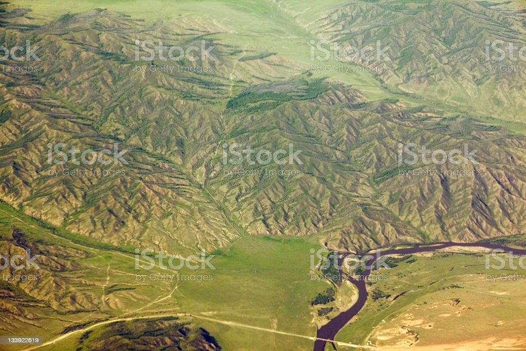 Aerial shot: foothills of Mountain Altai royalty-free stock photo
