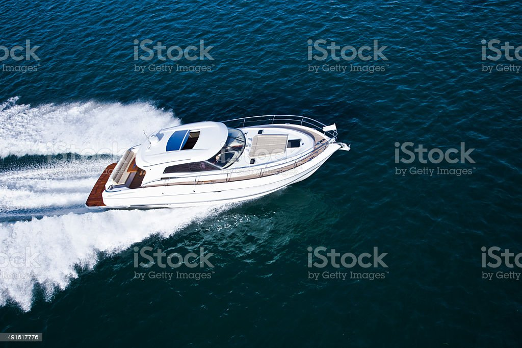 Aerial shot of a beautiful motor boat stock photo