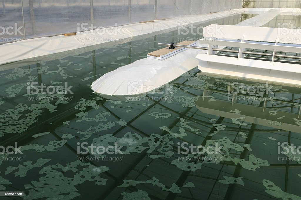 Aerial shot of a spirulina farm stock photo