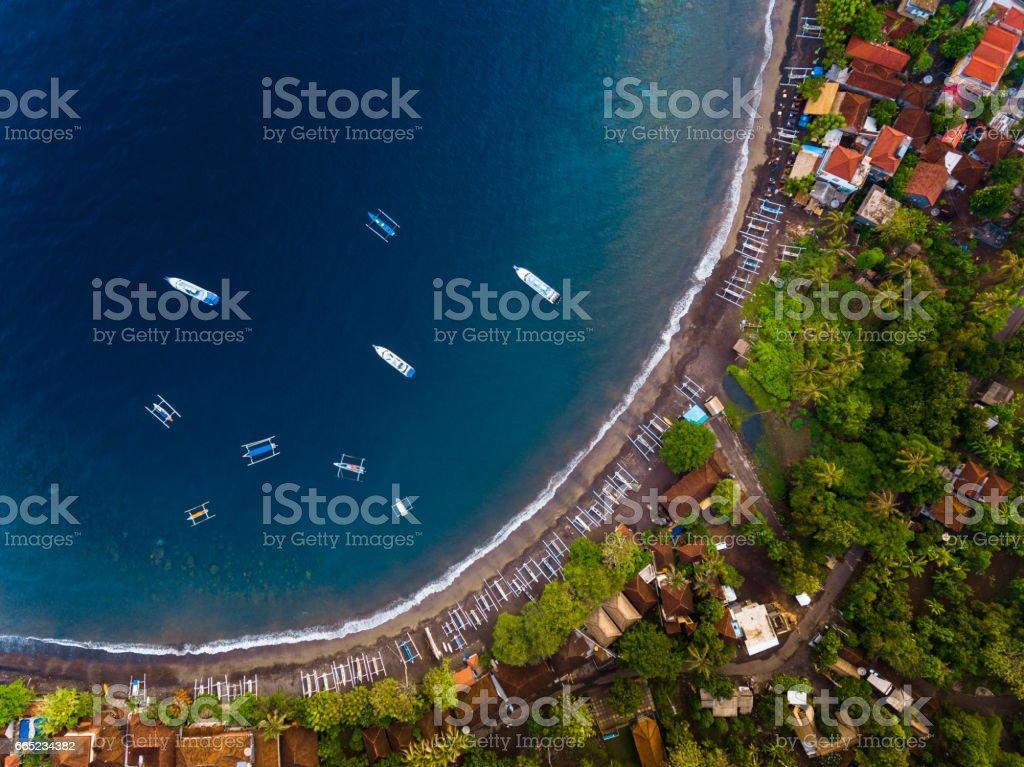 Aerial shot of Bali island stock photo
